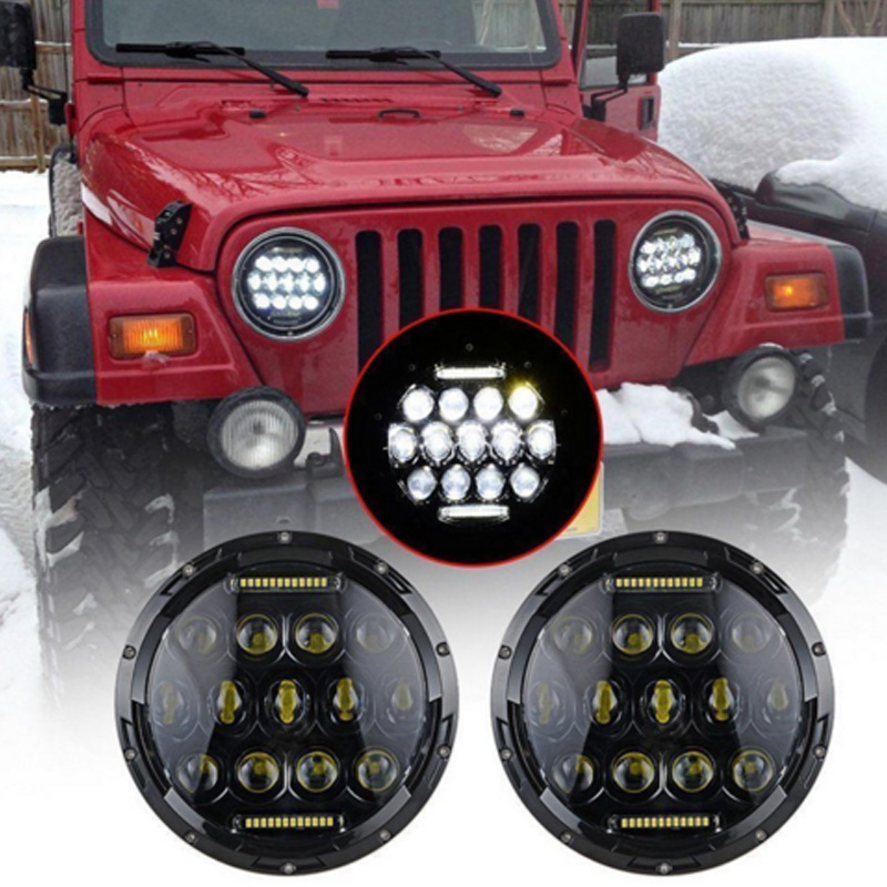 2018 1pair 7 Inch 75W Round Led headLight Yellow,Blue White Green,Red 12v For Wrangler Motorcycle
