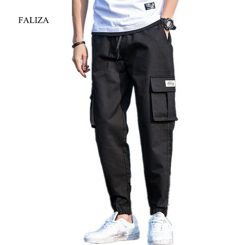 FALIZA Hip Hop Cargo Pants Mens Spring Summer Military Style Joggers Pants Men Camouflage Baggy Casual Trousers Khaki Pants PA04