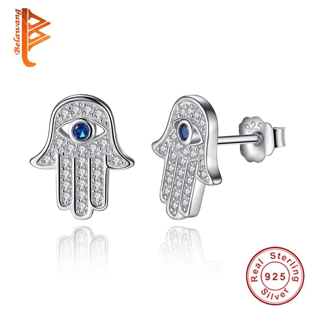 Original 925 Azul Mal de Ojo Hamsa Mano de Plata Esterlina Stud Pendientes Para
