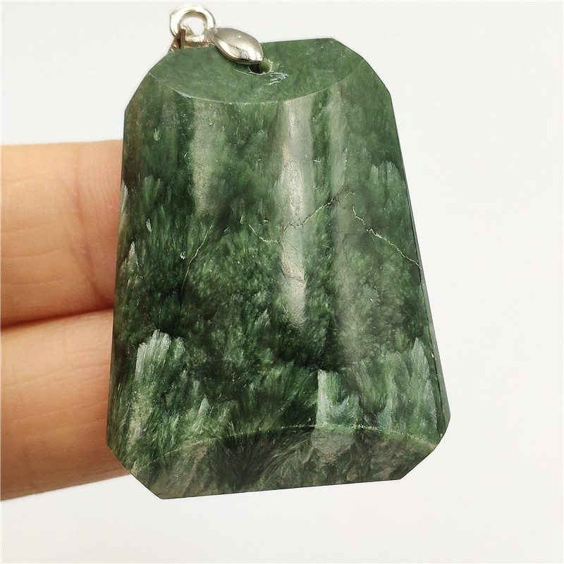 Natural Green Seraphinite Necklace Pendant Stone 39x29x8mm Women Men Rectangle Crystal Lucky Anniversary Love Gift Pendant AAAAA