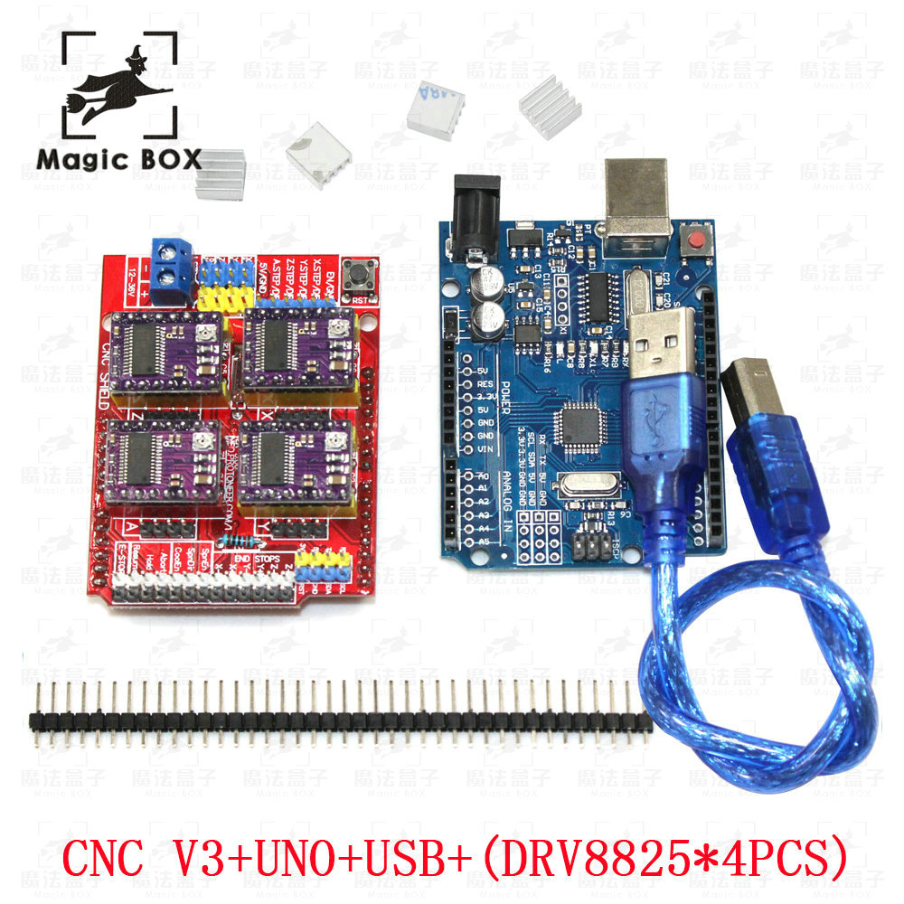 CNC Shield Expansion Board V3.0+4pcs DRV8825 Stepper Motor Driver With Heatsink with UNO R3 Board 5v 2 channel ir relay shield expansion board for arduino