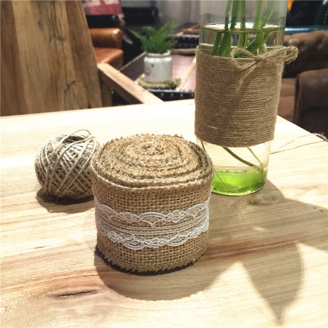 vintage wedding decoration mariage 3mroll jute burlap hessian ribbon lace rustic wedding party centerpieces - Aliexpress Decoration Mariage