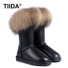 TIIDA 2016 Fashion snow boots Women Winter boots 100% Genuine Leather Warm Snow Boots Waterproof Woman boots Free Shipping