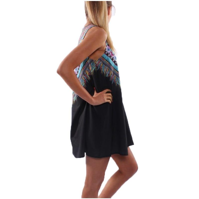 Vintage Print Women Dress O-neck Sleeveless Casual Dresses Boho Sexy Chiffon Beach Dress Summer Dress 2017 Brand New Vestidos 1