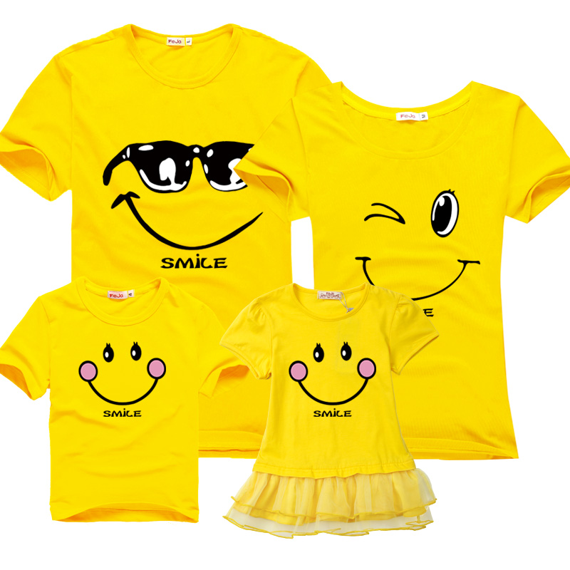 Family matching clothes mother daughter dresses clothes mother son outfits 100 cotton short sleeve T shirt