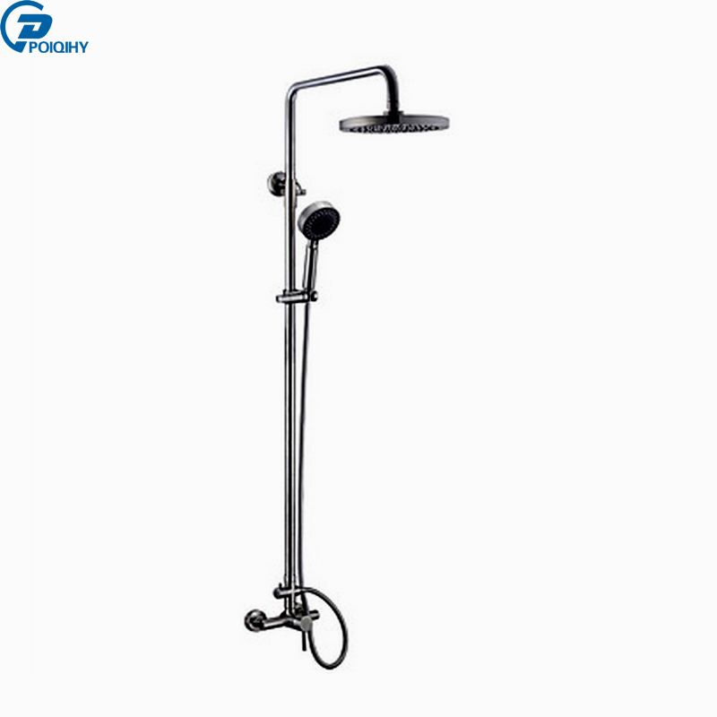 POIQIHY Chrome Bath Shower Set mixer tub 8 Rainfall Shower Faucet Single Handle with Hand Shower