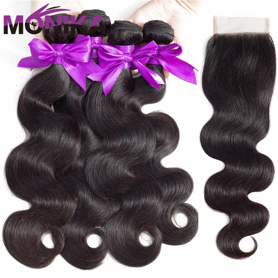 Monika Peruvian Hair Body Wave Bundles with Frontal Human Hair 4 Bundles with Frontal Body Wave with frontal and Bundles NonRemy