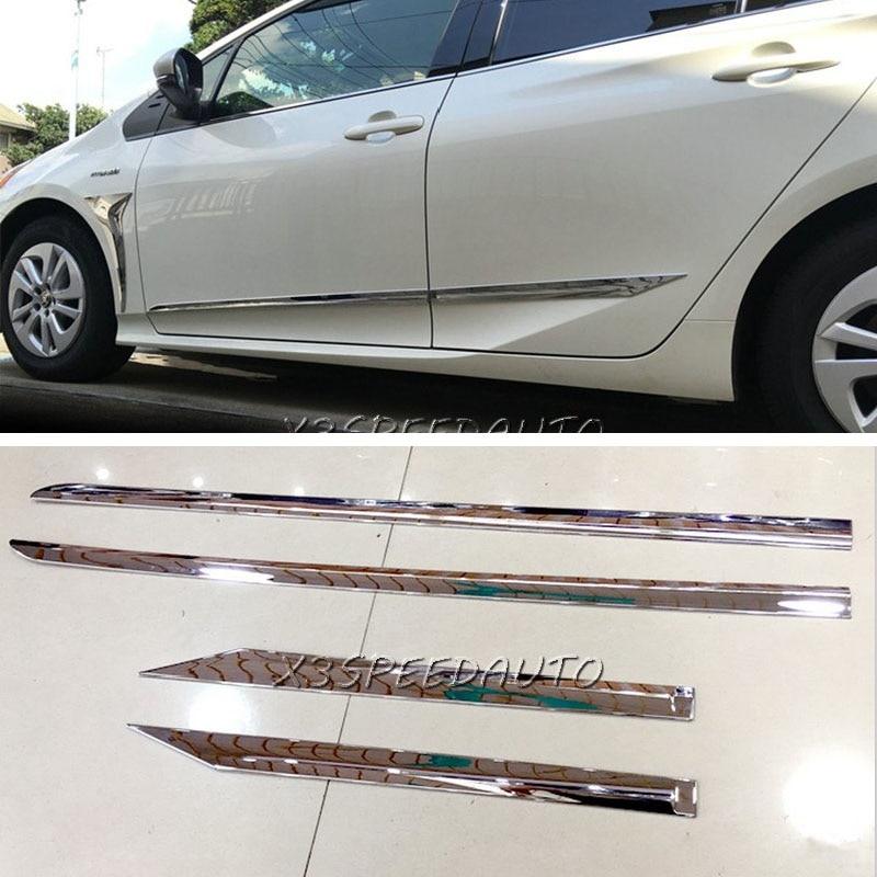 Pour Toyota Prius XW50 2016 corps de porte latérale moulage capots de bordure 4 pièces plastique ABS chromé