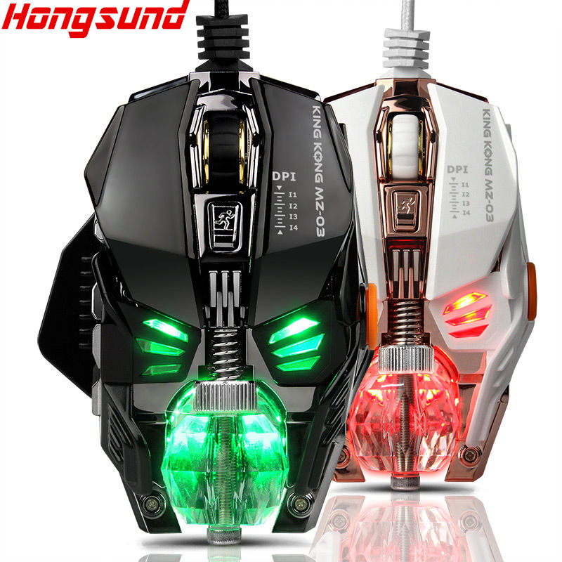 The wried gaming mouse with 4000 DPI new professional macro-program cable metal dismantling 8 buttom big mechanical game mouse