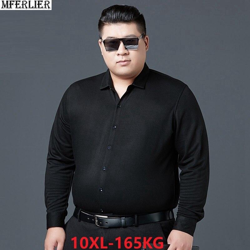High Quality Fat Shirt Men Long Sleeve Large Size Spring 7XL 8XL 9XL 10XL Cotton Business Formal Office Man Home Dress Shirts 54