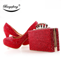 BaoYaFang Red crystal wedding shoes with matching bags woman 8cm/10cm/12cm/14cm Thin heel Ladies Pumps and purse set platform