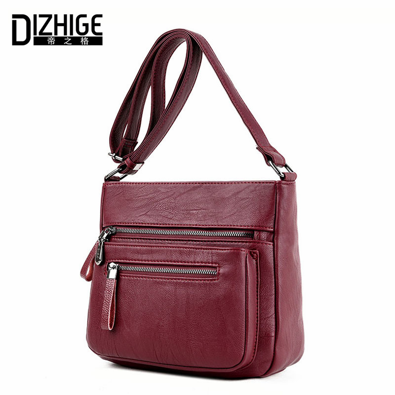 DIZHIGE Brand 2017 High Quality Sheepskin Women Messenger Bags Shoulder Genuine Leather Bags Women Double Zippers Crossbody Bags