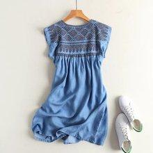 Летнее женское джинсовое платье из Tencel, плиссированное мини-платье без рукавов с высокой талией, мягкое джинсовое платье, короткое джинсовое пляжное платье свободного кроя