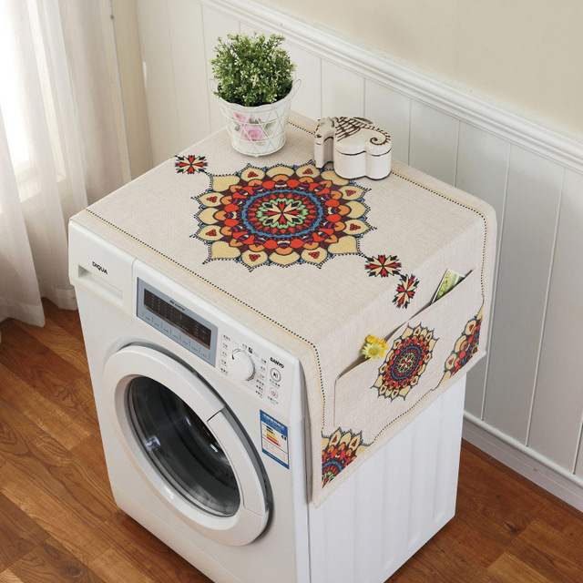 Ретро Европейский цветочный принт стиральная машина пылезащитный чехол для холодильника с карманом для хранения льняной ткани ремесло 1 шт./лот FC119 - Цвет: 7