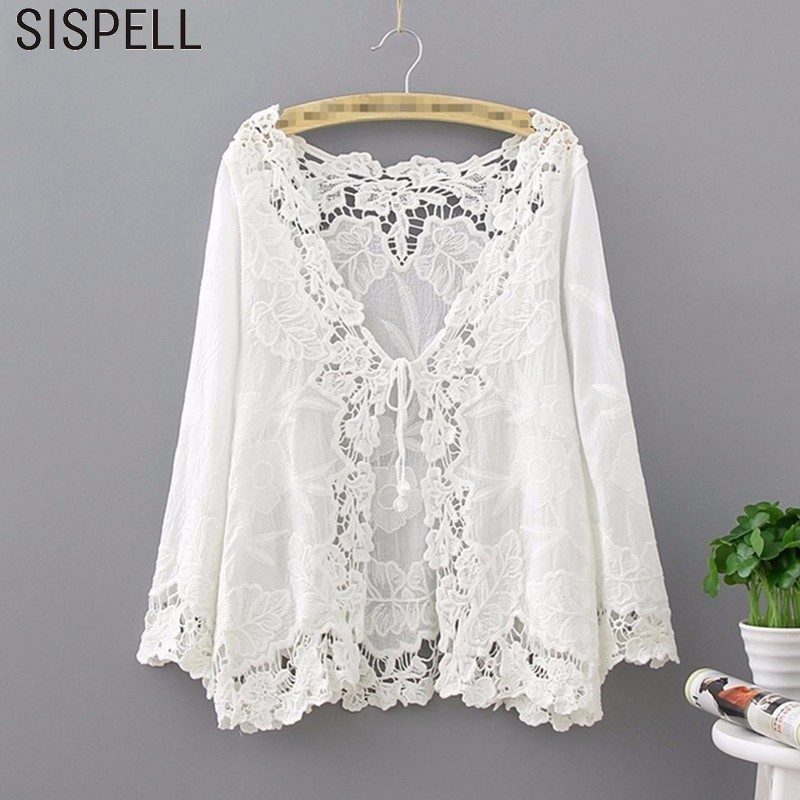 SISPELL White Lace Female T shirts Tops V Neck Three Quarter Casual Hollow Out Korean T shirt Spring 2018 Fashion Clothing New