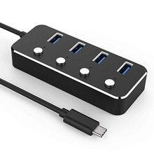 Usb-хаб, Leadzoe Тип C 4 Порты и разъёмы концентратор с индивидуальным Мощность switcheds встроенный порт USB 3,0 USB кабель для передачи данных Мощность ed Hub адаптер