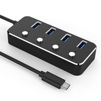 USB Hub,Leadzoe Type C 4 Port Hub Splitter with individual Power Switcheds build in USB 3.0 cable USB Powered Hub Adapter