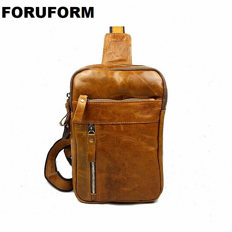 New High Quality Vintage Casual Crazy Horse Leather Genuine Cowhide Men Chest Bag Small Messenger Bags For Man LI-821 contact s brand 2018 hot genuine crazy horse cowhide leather men messenger bag high quality shoulder bag for vintage travel bag