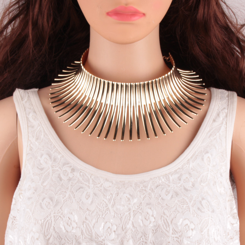 Vedawas Fashion Indian Bending Alloy Big Torques Statement Necklaces Steam punk Jewelry Collar Choker Necklace For Women xg517 manilai trendy metal hollow torque choker necklaces women indian punk geometric collar statement necklace jewelry accessories