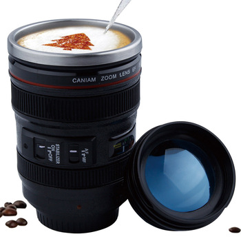 Creative 400ml Stainless steel liner Camera Lens Mugs Coffee Tea Cup Mugs With Lid Novelty Gifts Thermocup Thermo mug Collections Items Mugs Novelties