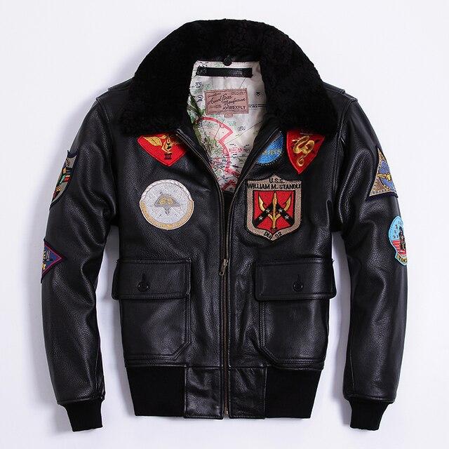 f3563d09a4b AVIREX FLY Air Force Bomber Jacket Fur Collar Cowhide Genuine Leather Jacket  Man G1 Multi-standard Motorcycle Biker Coat Male
