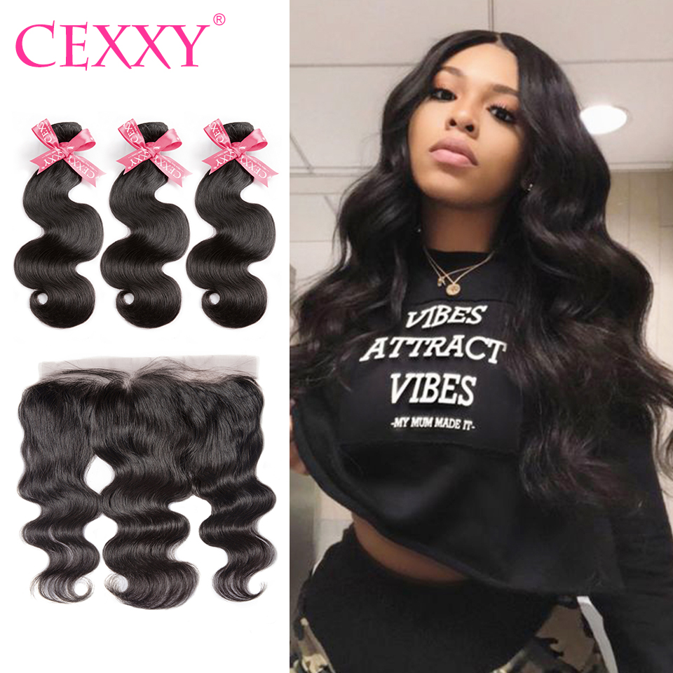 CEXXY Frontal With Bundles Body Wave Human Hair Brazilian Hair Weave Bundles With Frontal Pre Plucked