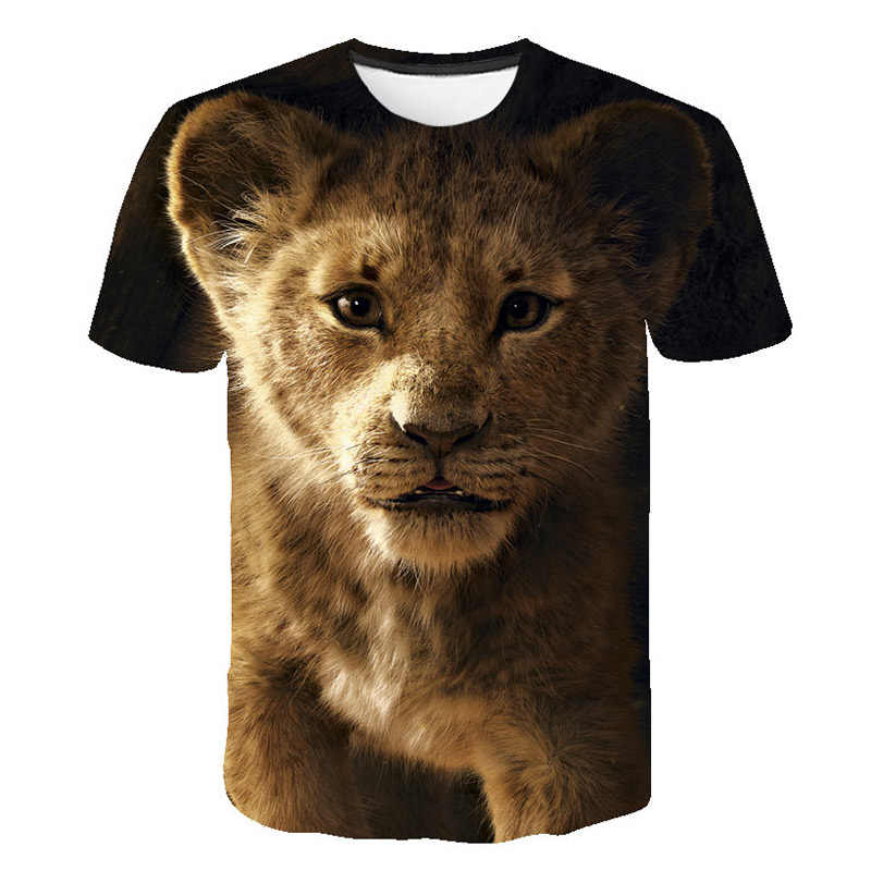 Лидер продаж, стильная футболка с объемным рисунком льва, короля, животных Новая модная футболка одежда для отдыха футболки для мальчиков и девочек