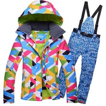 HOTIAN Ski Suit Women New Arrival Super Waterproof Ski Jacket And Pants Female Winter Outdoor Ski Coat Lady