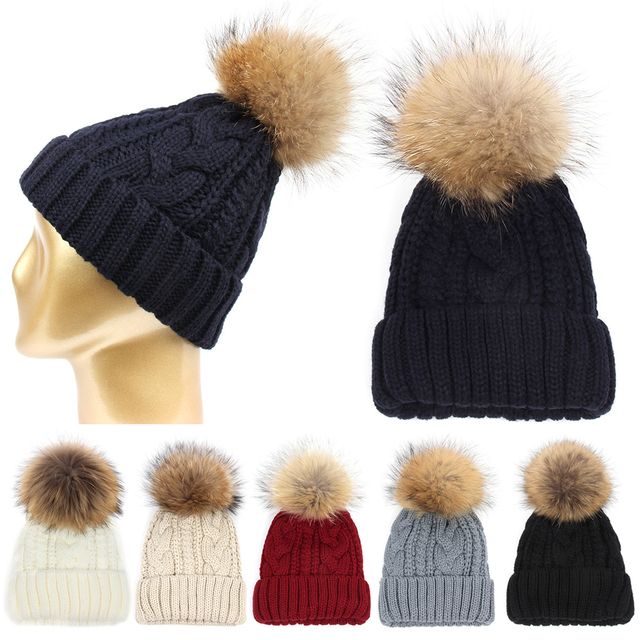 Womens Hip Hop Cap Real Raccoon Fur Ball Pom Poms Knitted Wool Skullies Beanie Pompom Hat Warm Winter Female Cap