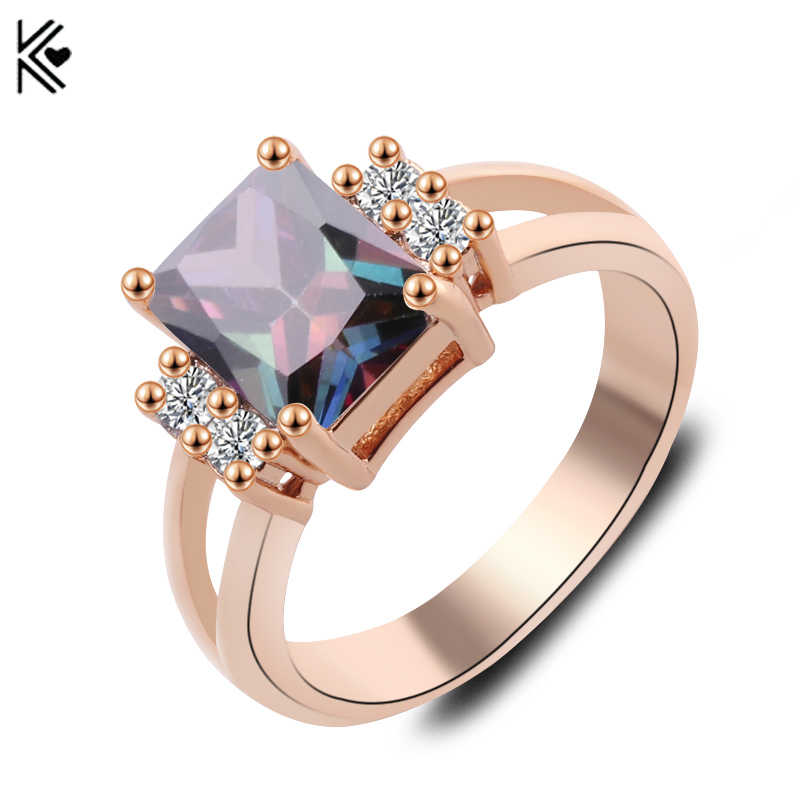 New Brand Design Geometric Rose Gold Filled Jewlery Male Female Ocean Blue Ring Vintage Wedding Rings For Men And Women Lover