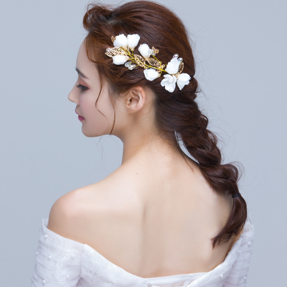 2017 new wholesale bridal white flowers hair accessories korea
