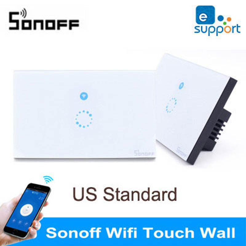 Sonoff US Standard Wireless Control Light Switches,Glass Panel Smart Touch Switch,Wall Light Wifi Switch For Smart Home hot us 1gang touch switch screen wireless remote control light switch wall light switches smart control with crystal glass panel