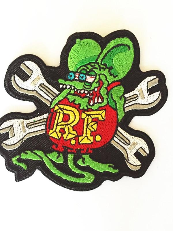 One Piece RF Rat Fink Ratfink Mouse Jacket Patches For Clothing Rock Patch Husky Set