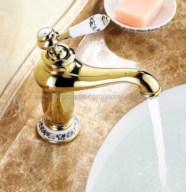 Смесители для раковины с золотой отделкой смеситель ванной комнаты
