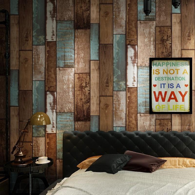 Retro Nostalgia Wood Board PVC Embossed Wallpaper Waterproof Wood Grain Bar Restaurant Cafe Background Decor Wall Covering Paper