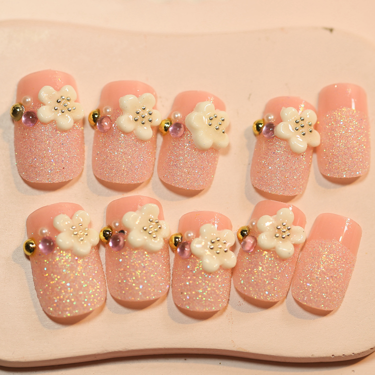 Shining matte pink false nails french Flower pattern 3D Japanese ...