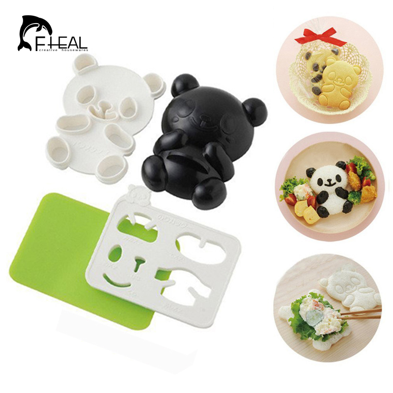 FHEAL New Arrival 4 in 1 Baby Panda Mold Rice Mold Onigiri Shaper and Dry Roasted Seaweed Cutter Set Kitchen DIY Mold Tools