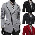 2015 cajera cremallera oblicua solapa grande abrigo de lana masculino abrigo de lana envío gratis