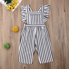 Новейшая модная одежда для маленьких девочек, полосатые комбинезоны без рукавов с оборками, комплект одежды из одного предмета