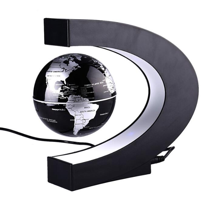 2018 New specific character 4 inch C Shape Electronic Magnetic Levitation Floating Globe World Map with LED Lights Birthday Gift