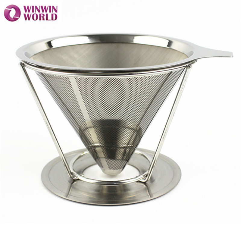 2 Cup Portable Stainless Steel Tea Coffee Filter Reusable Funnel Espresso Coffee Dripper Pour Over V