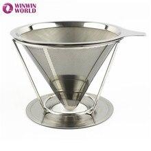 2 Taza de Té de Acero Inoxidable Portátil de Goteo de Café de Filtro de Café Espresso Reutilizable Embudo Verter Sobre V-tipo Taza Del Filtro Herramientas del té
