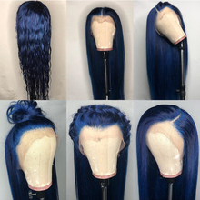 Colored Blue 13×6 Lace Front Wigs 30 Inch Glueless Human Hair Wig Transparent Lace Frontal Closure Wig 150 Density