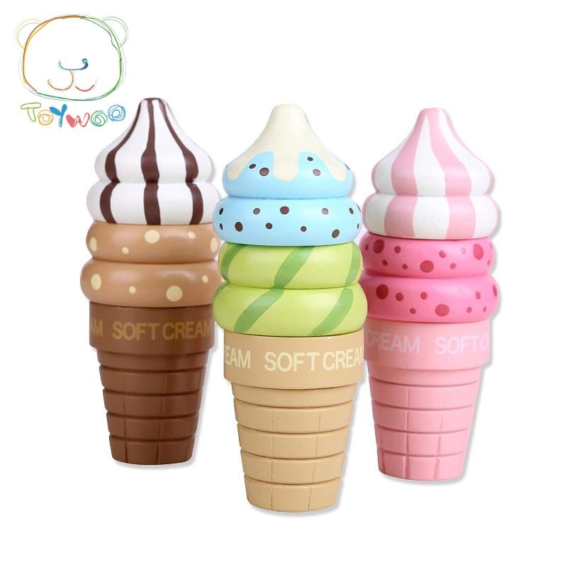 2017 Otroške kuhinjske igrače Otroške igrače Hrana za sladoled Otroški vzgojni magnet Lesena igra za darilo za predšolske deklice