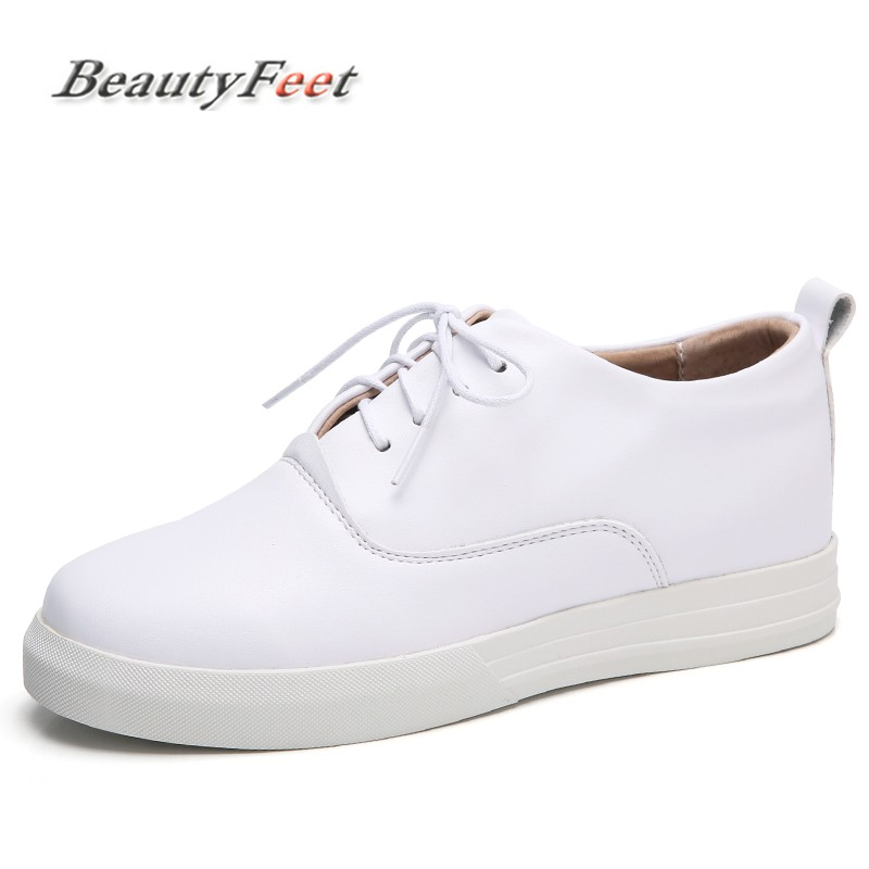 BeautyFeet Women Shoes Female Genuine Leather Lace Up Casual Shoes Woman Flats White Shoes Candy Color Breathable Ladies Shoes m genreal 2017 new women white shoes all match summer breathable leather shoes vulcanized casual shoes candy color lace 35 39