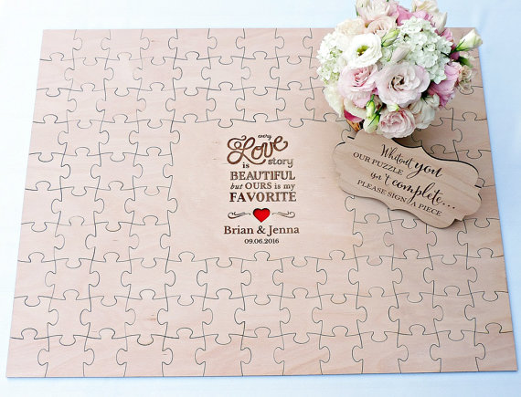 Personalized initials date rustic puzzle wedding guest for Backyard party decoration crossword