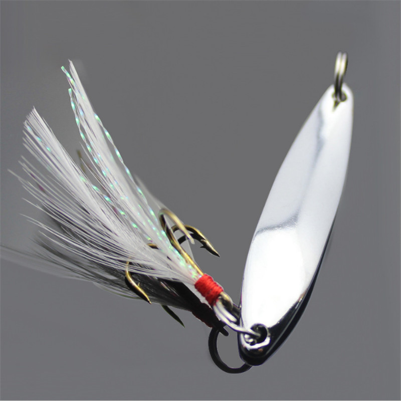 1Pcs 5g/7g/10g/13g/18g/21g Metal Fishing Lure Spoon Sequins Spinner with Feather Hard Bait For Sea lake lure Tool Wobblers bammax fishing lure 1 box metal iron hard bait sequins shore jigging spoon lures fishing connector pin fishing accessories pesca