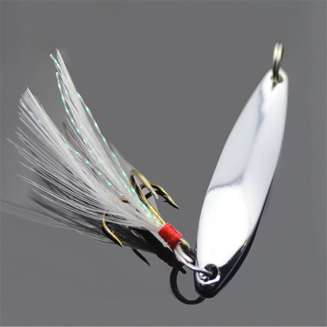 Blink Blink Metal Spoon Spinner with Feather Fishing Lure