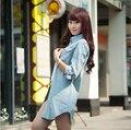 Novo 2016 Moda Blusa Mulheres Primavera Outono Manga Comprida Casual Denim Camisa de Algodão Fino Jeans Camisas Mulheres Blusa Femininas Z947
