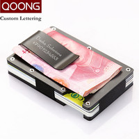 QOONG RFID Anti Chief Slim Metal Credit Card Holder Travel Mini Wallet For Men Women Cardholder